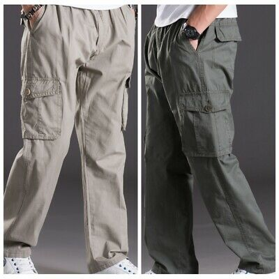 Men Baggy Pants 7XL Men Trousers Solid Color Elastic Cotton