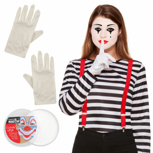 French Mime Set Couples Mens Womens Braces Beret Top Garlic Fancy Dress Costume!