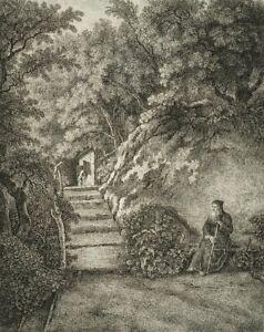Unb. Künstler. STEINER(19.Jh), Einsiedler im Walde. Radierung