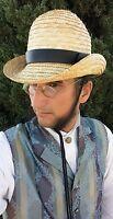 Victorian Men's Straw Bowler Derby Top Hat Old Time Dandyman Deadwood Tombstone