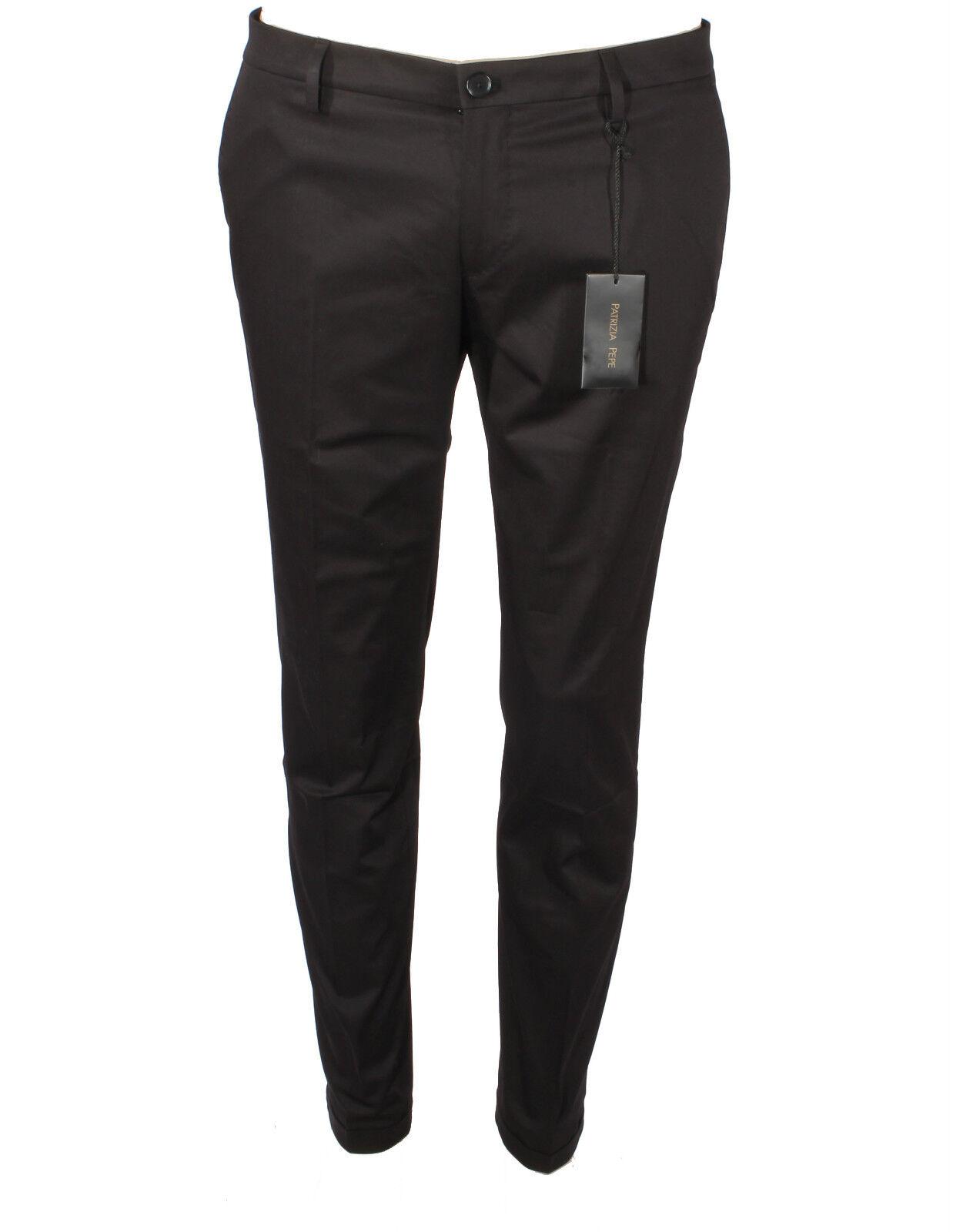 Pantalones de hombre algodón P V PATRIZIA PEPE Delgado black vinilo 5P0402