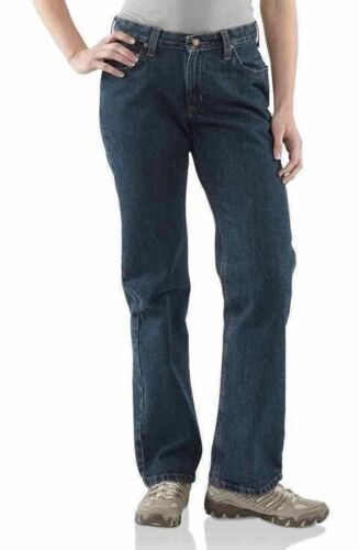 #5A.90 Carhartt FR Jeans Relaxed Fit Size 6x30 Womens 14806 VG Condition