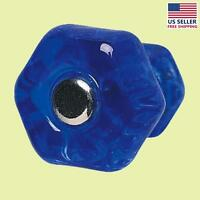 Cabinet Knob Blue Glass 1 Dia W/ Chrome Screw | Renovator's Supply on Sale