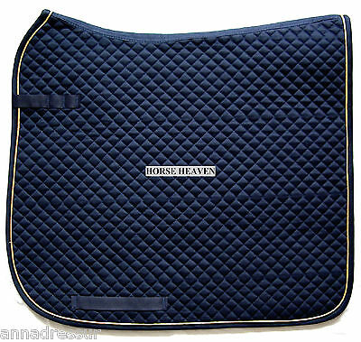 HKM German Dressage Saddlecloth Pad, 16 Colours Gold or Silver Piping, Cob/Full