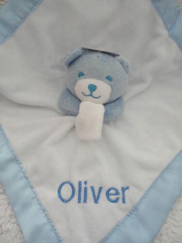 Personnalisé bébés comfort blanket bleu /& blanc ours en peluche consolateur