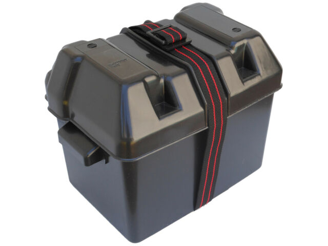 MARINE PLASTIC BATTERY BOX TRAY HOLDER W/STRAP - BOAT, RV, CARAVAN – FIVE OCEANS