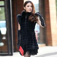 13218 Real Rex Rabbit Fur Vest with Fox Fur Collar Waistcoat Women Coat Jacket