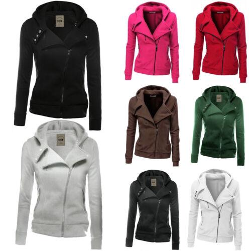 Women/'s Plain Zip Hoodie Sweatshirt Hooded Coat Jacket Jumper Pullover Outwear