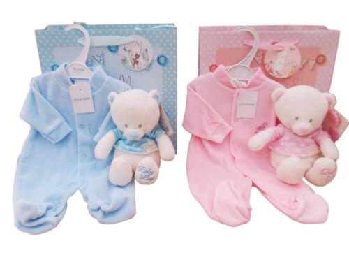 BNWT New Born Baby boys or girls teddy bear and sleepsuit in gift bag present