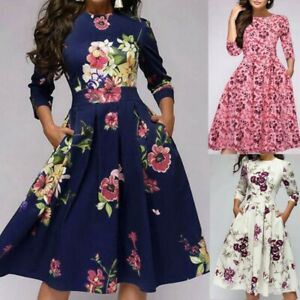 Women-Retro-Tunic-3-4-Long-Sleeved-Floral-Print-Bodycon-Dresses-Vintage-Dress