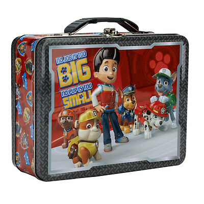 """Paw Patrol /""""No Job is Too Big/"""" TIN School Lunch Box Case Carry-All TOTE NEW"""