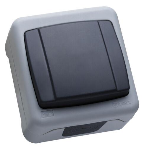 Makel Feuchtraum Schalter Ein- und Ausschalter Aufputz IP55 in dunkelgrau