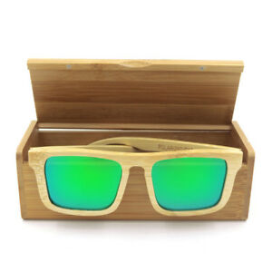 a600ccf24c2 Image is loading Blue-Green-Bamboo-Sunglasses-Wooden-Glasses-Box-Handmade-
