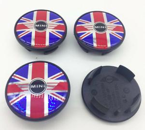 4-x-54mm-Mini-Cooper-Union-Jack-Farbe-Logo-Nabenkappen-Felgendeckel-Satz