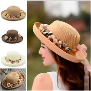 Image is loading Handmade-Flower-Straw-Hat-Women-Garland-Sunbonnet-Bucket- 97cda89c3b89