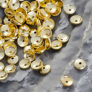 925-STERLING-SILVER-Gold-Plated-ROUND-SMOOTH-BEAD-CAPS-10x4mm-Jewelry-Findings