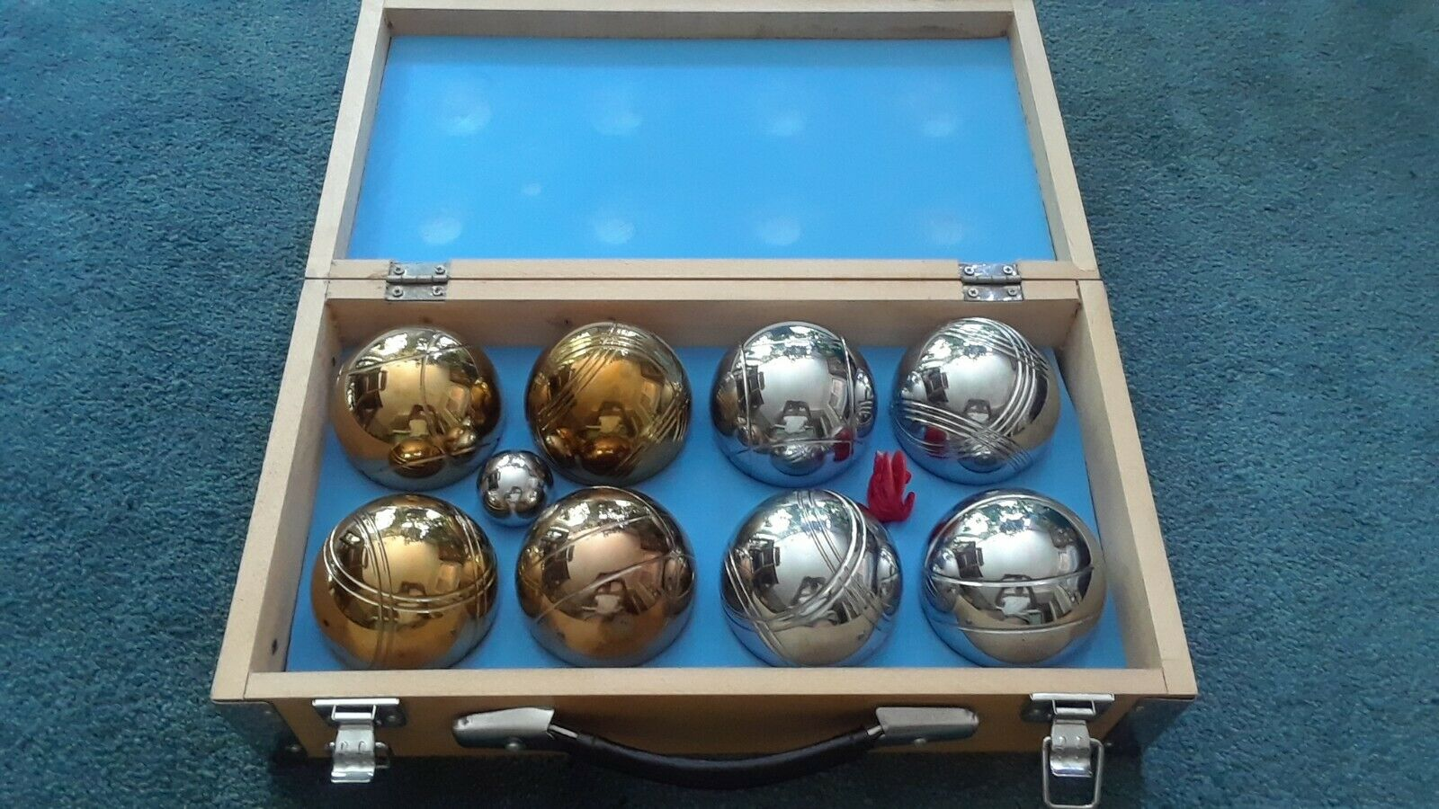 Logix New Bocce  Ball Metal Brass & Chrome colord 8 Ball Set W  Wooden Box NR  quality assurance