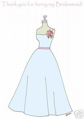 Thank you bridesmaid dress 6 cards ice baby blue
