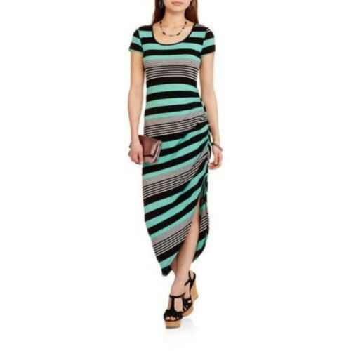 No Boundaries Junior Girls Side Ruched Mint Striped SS Bodycon Maxi Dress