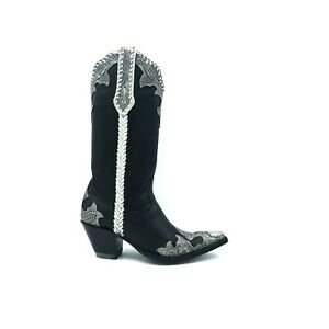 Women-039-s-Old-Gringo-Black-and-Silver-Tooled-Cowboy-Boots-size-7B