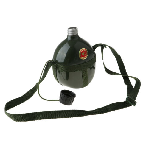 Outdoor Canteen Water Bottle Camping Retro Container w// Shoulder Strap Belt