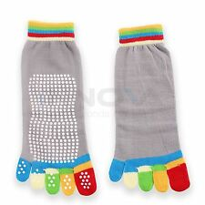 Yoga Fitness Grip Excercise Five Toe Socks Rubber Pilates Non Slip Socks Grey