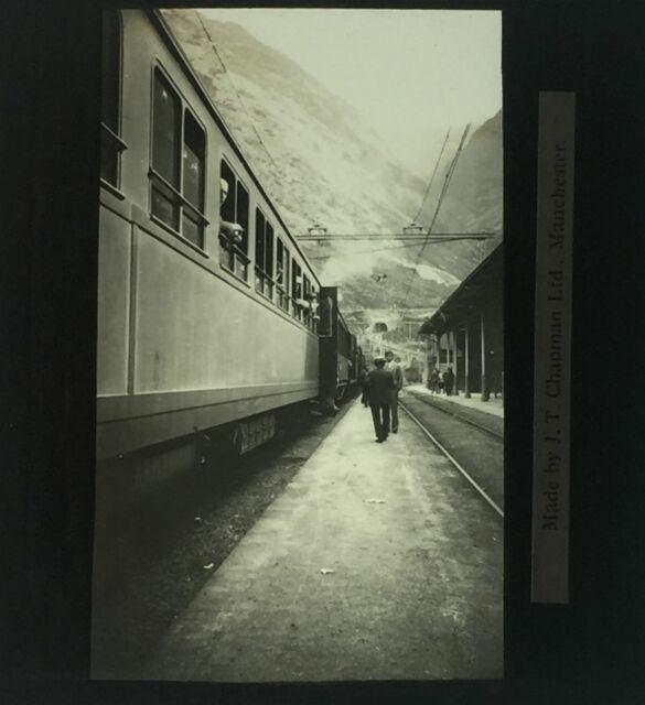 Switzerland Train in Mountain Station Close View Glass Magic Lantern Slide c1920