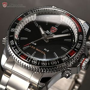 SHARK-Men-039-s-Luxury-Sports-Stainless-Steel-Digital-LED-Date-Quartz-Wrist-Watch