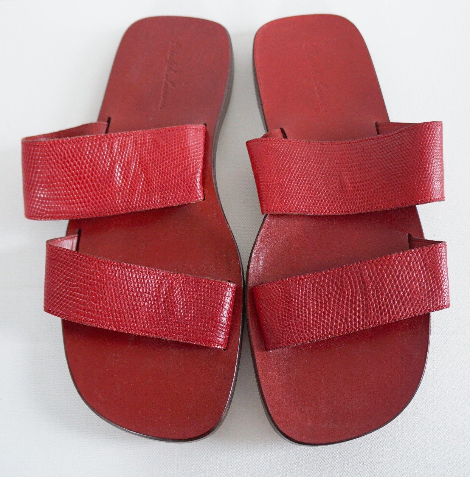 RALPH LAUREN Red Genuine LIZARD Strap Sandals Slides Shoes  -10.5D