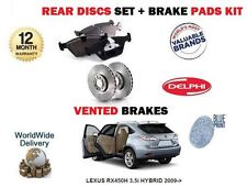 FOR LEXUS RX450H 3.5 HYBRID 2009-> REAR VENTED BRAKE DISCS SET + DISC PADS SET