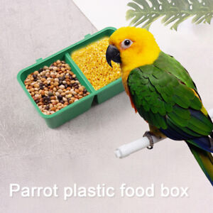 Little Pet Bird Handle Water Boxes Cups Parrot Bath Tub Food Tray Multi-function