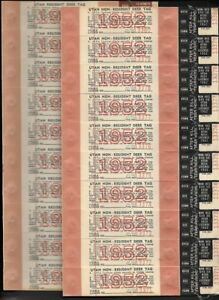 USA-1952-Utah-2-Panes-Hunting-Deer-Tag-License-Connected-in-Sequential-Numbers