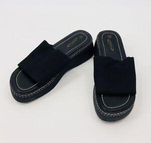 093d6b8e66cfd7 Image is loading Vintage-Lower-East-Side-Black-Chunky-Platform-Sandals-