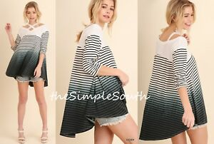 NWT UMGEE Ivory Washed Ombre Stripe Strappy Neck Hi-Lo Trapeze Swing Tunic Top L