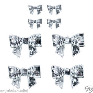 8 x kids Sequin bows Embroidery iron on fabric patches princess bow transfer