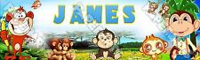 "Cute Cartoon Monkey Poster Banner 30"" x 8.5"" Personalized Custom Name Printing"