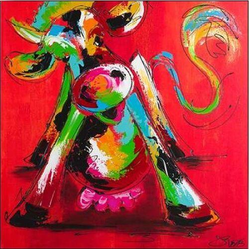 Art Fiore: Disco cow I Keilrahmen-Bild Leinwand Kuh bunt modern Pop Kult