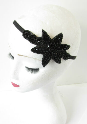 Black Beaded Headband 1920s Great Gatsby Flapper Headpiece Vintage Art Deco R33