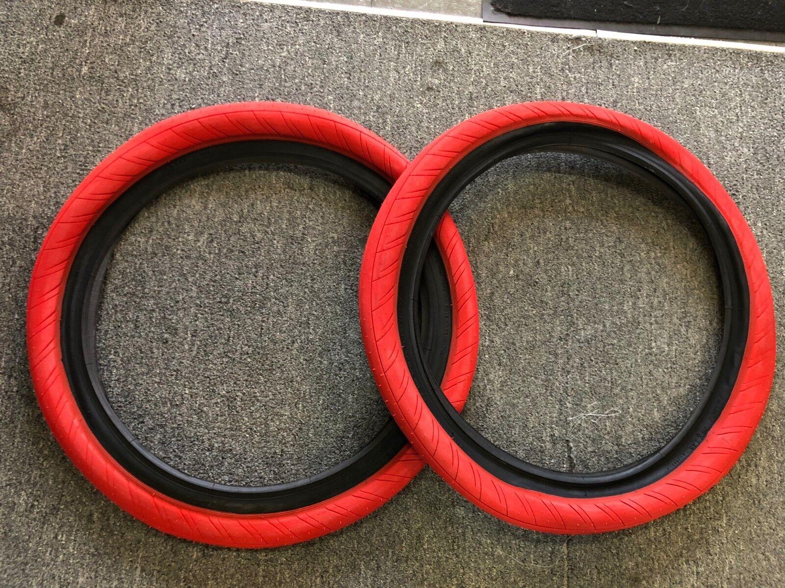 PAIR OF PRIMO  BMX STEVIE CHUR LL 20 X 2.45  BIKE TIRES RED  free shipping!