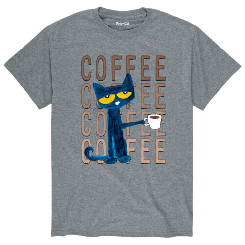 Pete The Cat Pete With Coffee Adult Short Sleeve Tee