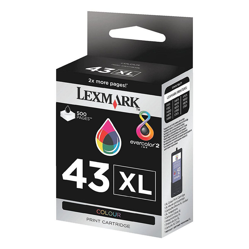1X Lexmark No 43xl color Original Oem Cartucho de Tinta 18YX143E-500 Páginas