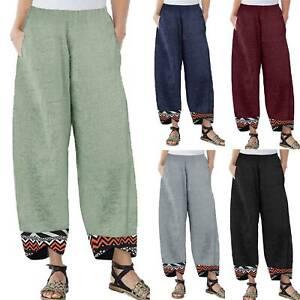 Women Soft Cotton Linen Wide Leg High Elastic Waist Casual Pants Loose Trousers