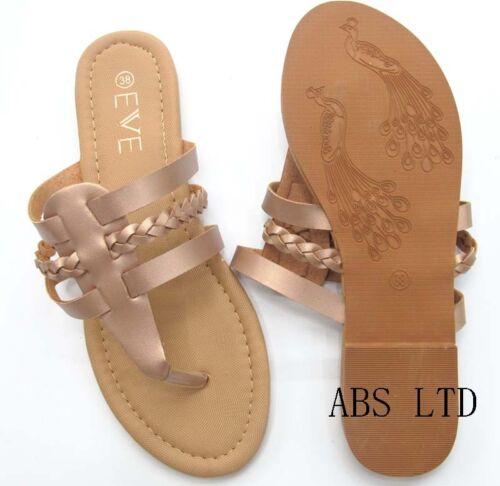 New Femme Plates Toe Post Chaussures Femme Flip Flops Sandales Été Plage Toutes Tailles