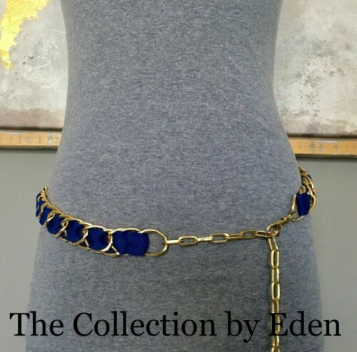 Blue or Orange Ribbon with Gold Chain Link Size Small//Medium S//M Belt