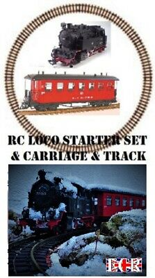 Appena New G Scale Rc Loco, Coach & Track, Starter Set 45mm Gauge Garden Railway Train Un Rimedio Sovranazionale Indispensabile Per La Casa