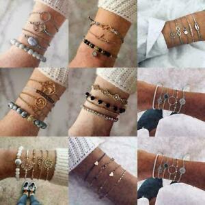 Frauen-Armband-Set-Karte-Shell-Lotus-Boehmische-Perlen-Ketten-Armband-Schmuc-E7W0