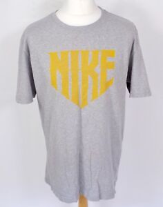 NIKE Spell Out Grey Marl T Shirt XL