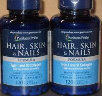 240 Caplets Hair Skin Nail Care Anti-aging Collagen, Biotin, Niacin, Vitamins ++