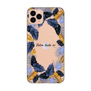 Coque Iphone 12 PRO MAX personnalisee fleur tropical jaune bleu