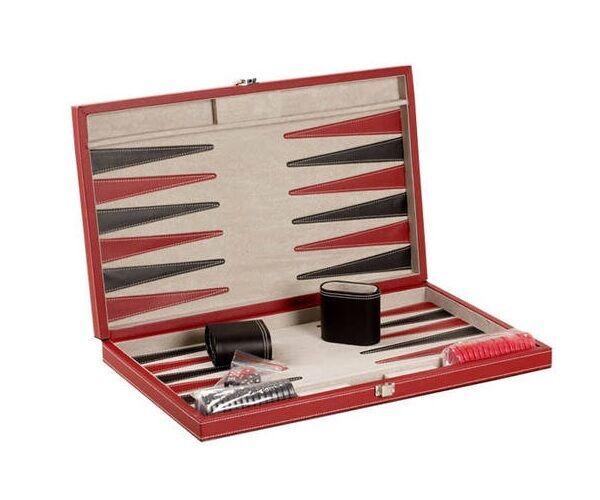 Envío y cambio gratis. 18  backgammom Juego Juego Juego Set Negro Y Rojo De Cuero Funda Nueva  Tu satisfacción es nuestro objetivo